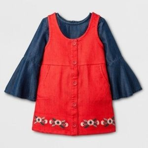 Genuine Kids Oshkosh red jumper with chambray top